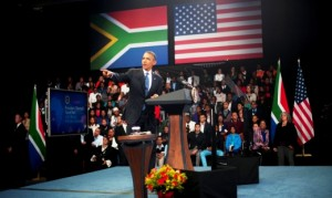 "US President Barack Obama gestures as he speaks during a town hall style meeting at the University of Johannesburg Soweto in Johannesburg, South Africa, on June 29, 2013.  US President Barack Obama met the family of his ""inspiration"" Nelson Mandela but was unable to visit the anti-apartheid legend who remains critically ill in hospital. AFP PHOTO/JIM  WATSON"